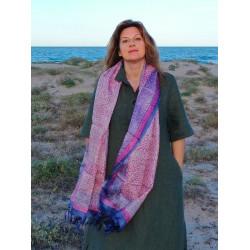 100% row silk scarf. Hand painted.